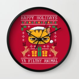 Ugly Holiday Sweater Cat Wall Clock