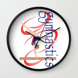 Gymnast on Balance Beam with Swirls Wall Clock