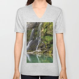 Beautiful Big Waterfall At Cliffside Ultra HD Unisex V-Neck