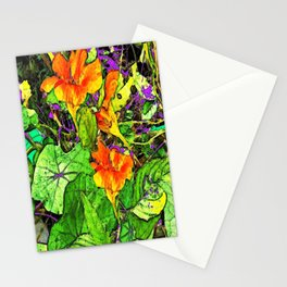 Nasturtiums Garden Abstract Art Stationery Cards