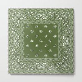 Bandana - Paisley - Classic Green  Metal Print