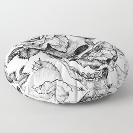 Black and White skull with roses pen drawing Floor Pillow