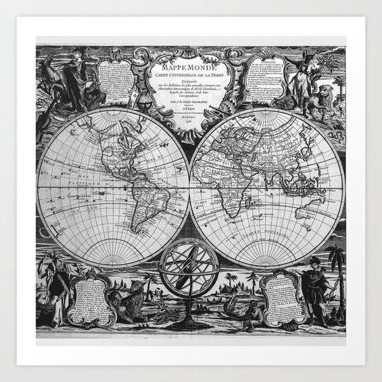 Vintage Old Map Design Art Print