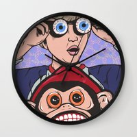 rock and roll Wall Clocks featuring Rock and Roll Martian by turddemon