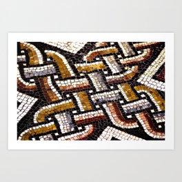Roman Geometric Squares Tile Mosaic Pattern Art Print