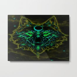 Mythical Neon Yellow Wolf Metal Print