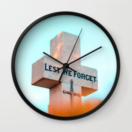 "Inscription on the cross ""Lest we forget"" Wall Clock"