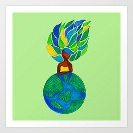 Day Dreamer - Background pastel green Art Print