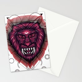 Mythical Lion Head Sacred Geometry Stationery Cards