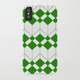 Abstract geometric pattern - green and white. iPhone Case