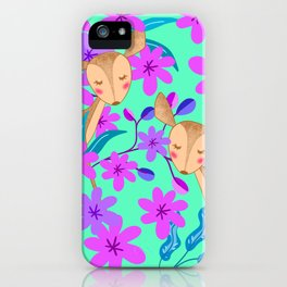 Cute wild sweet little baby deer fawns lost in the forest of blooming pink flowers illustration. iPhone Case