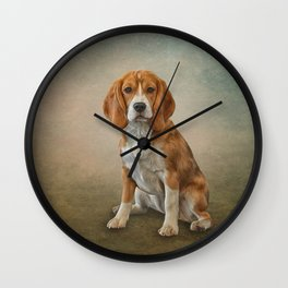 Drawing Dog Beagle Wall Clock