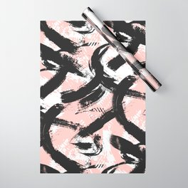 Black Brush strokes Wrapping Paper