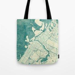 Dubai Map Blue Vintage Tote Bag