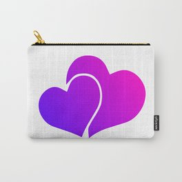 Pink and Purple Gradient Double Hearts Carry-All Pouch