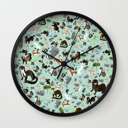 Mustelids from Spain pattern Wall Clock