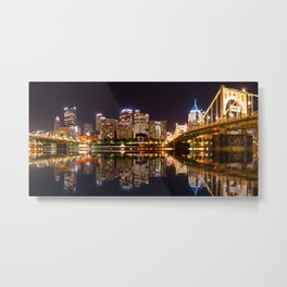 Skyline of the city of Pittsburgh at night Metal Print