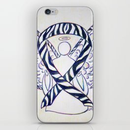 Zebra Awareness Ribbon Angel Art Painting iPhone Skin