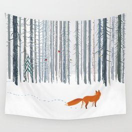 Fox in the white snow winter forest illustration Wall Tapestry
