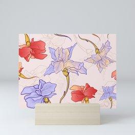 Iris Pattern - Lavender and Red Mini Art Print