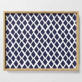 Rhombus Blue And White Serving Tray