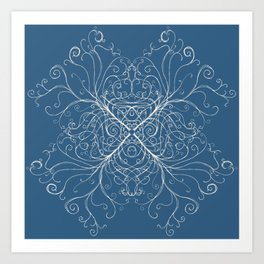Swirling trees on medium blue Art Print