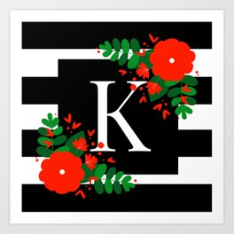 K - Monogram Black and White with Red Flowers Art Print