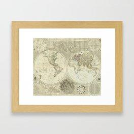 Vintage Map of The World (1787) Framed Art Print