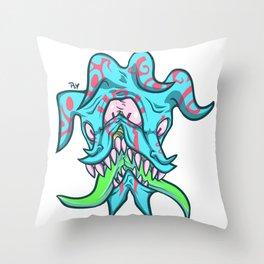 Fear-cyan Throw Pillow