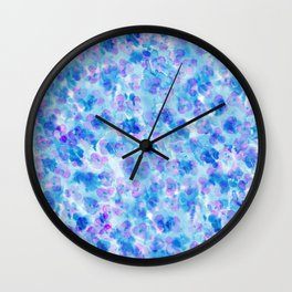 Modern hand painted blush pink blue watercolor floral Wall Clock