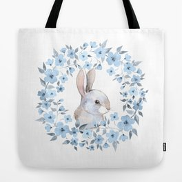 Rabbit and floral wreath. Watercolor Tote Bag