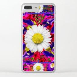 White Shasta Daisies Purple Floral Garden Art Clear iPhone Case