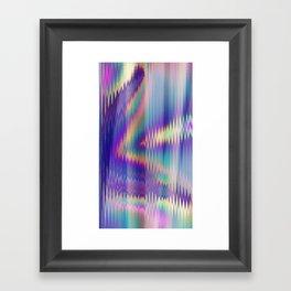 Abstract Rainbow Iridescent Glitch Framed Art Print