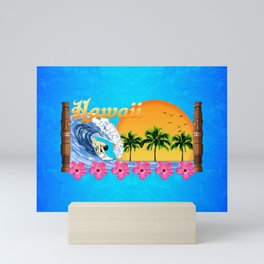 Hawaiian Surfing Mini Art Print