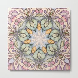 vintage flowers hand drawn and  kaleidoscope mandala Metal Print