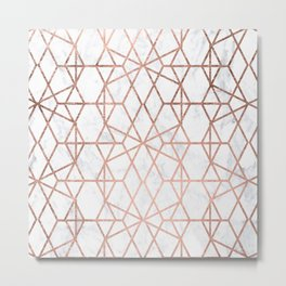 Geometric modern abstract stripes lines rose gold white marble pattern Metal Print