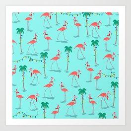 Christmas Flamingo Pattern Art Print