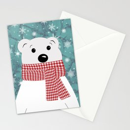 Christmas polar bear on blue. Stationery Cards