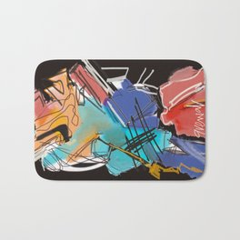 Black colorful abstract expressionism Bath Mat