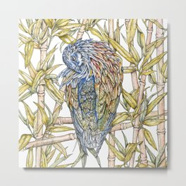 Nicobar pigeon in watercolour Metal Print