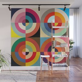 4 Seasons - Colorful Classic Abstract Minimal Retro 70s Style Graphic Design Wall Mural