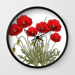 Flanders Red Poppy Wall Clock