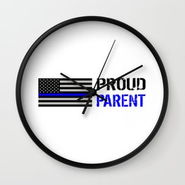 Police: Proud Parent (Thin Blue Line) Wall Clock