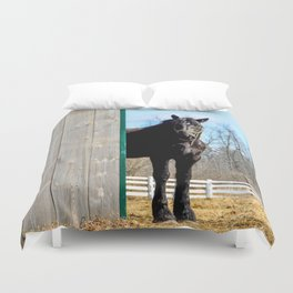 Percheron Horse by Teresa Thompson Duvet Cover