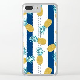 Pineapples and Stripes Clear iPhone Case
