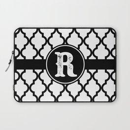 Black Monogram: Letter R Laptop Sleeve
