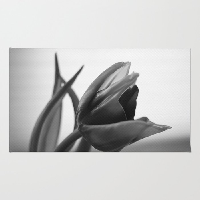 Tulip Blooming In Black And White Rug