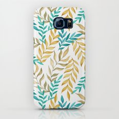 Tropical leaves (yellow and blue). Watercolor Galaxy S7 Slim Case