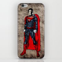 man of steel iPhone & iPod Skins featuring Steel Man by UvinArt