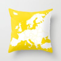 europe Throw Pillows featuring EUROPE YELLOW by SebinLondon